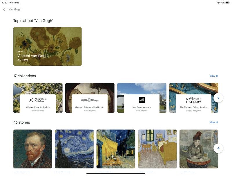 Activities within Google Arts and Culture