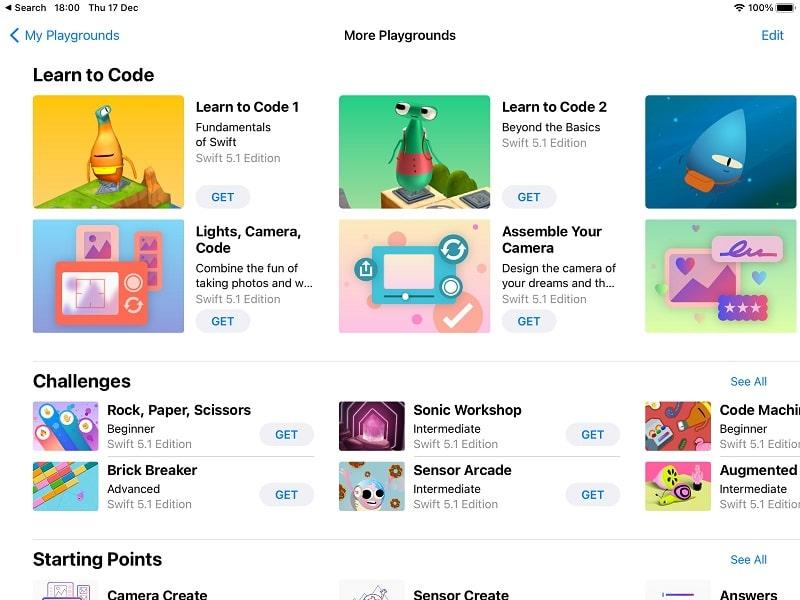 Teaching coding Swift Playgrounds app